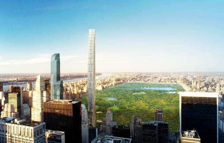 The Worlds Skinniest Skyscraper At 111 W 57th St Is To Rise 1428 Feet Thats 30 Taller Than Its Neighbor 432 Park Ave
