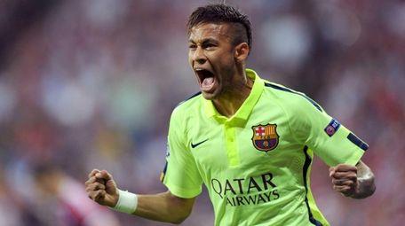 Barcelona's Neymar celebrates after his side's equalizing goal