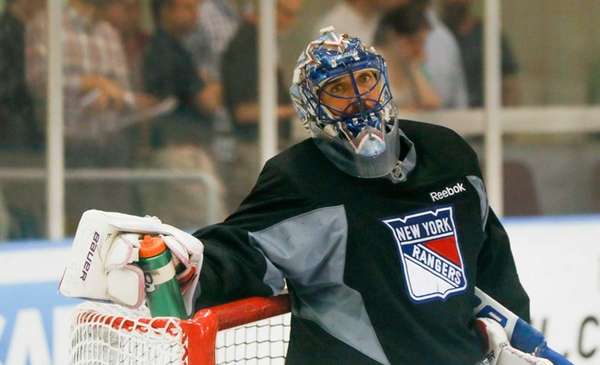 New York Rangers goalie Henrik Lundqvist takes a