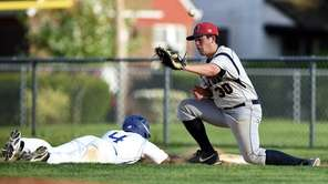 MacArthur firstbaseman Ryan Cunningham (30) attempts to tag