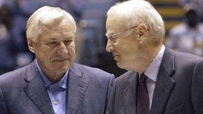 Former North Carolina coaches Dean Smith, center, and
