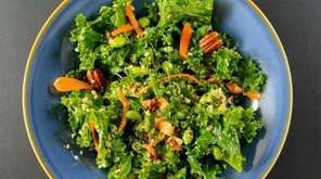 Kale, shredded carrots, cooked quinoa, toasted pecans and
