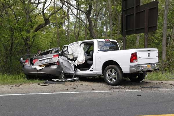 New York State Police investigate a head-on collision