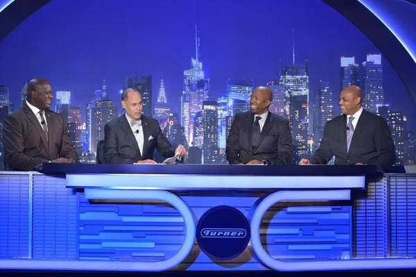 From left, Shaquille O'Neal, Ernie Johnson, Kenny Smith