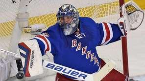 The New York Rangers' Henrik Lundqvist makes a