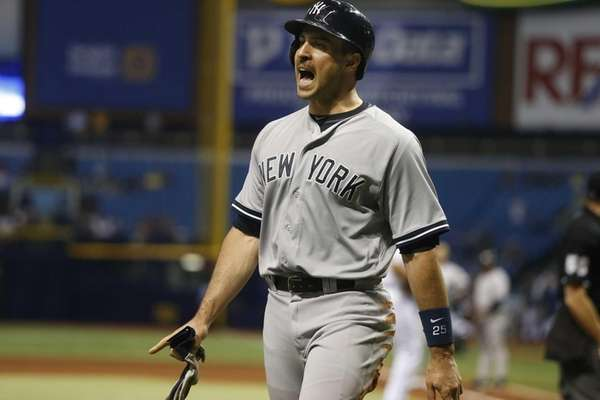 Mark Teixeira of the New York Yankees yells