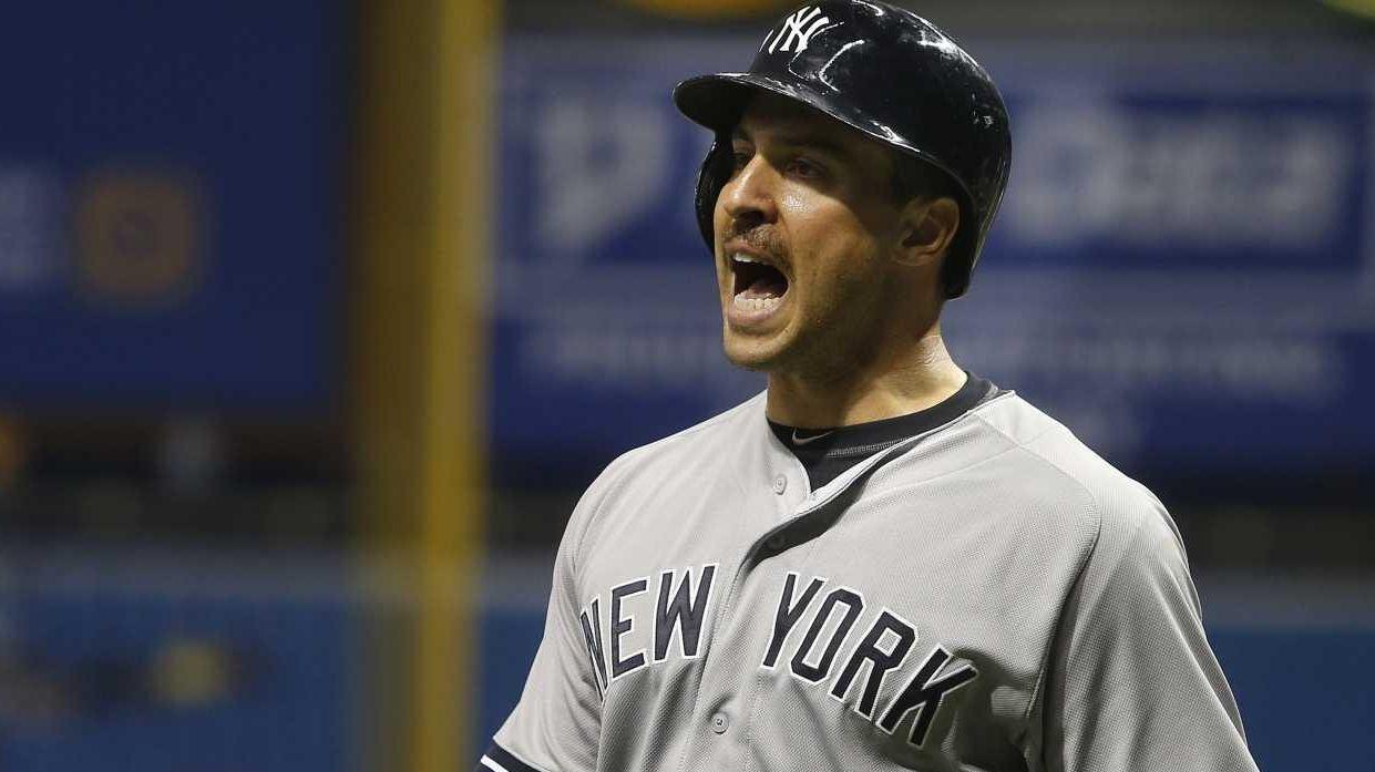 Mark Teixeira of the New York Yankees yells