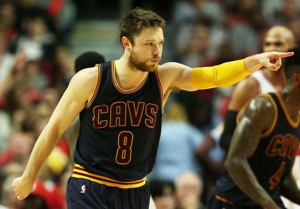 Matthew Dellavedova of the Cleveland Cavaliers reacts in
