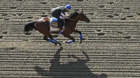 Kentucky Derby winner American Pharoah, with exercise rider