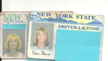 Two driver's licenses of Eileen Melia Hession.