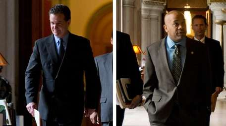 Senate Majority Leader John Flanagan (R-East Northport), left,