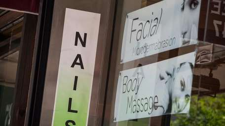 A nail salon is seen on May 11,