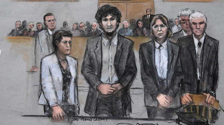 In this courtroom sketch, Boston Marathon bomber Dzhokhar