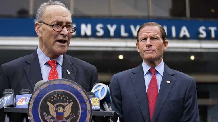 U.S. Sens. Charles Schumer, left, and Richard Blumenthal