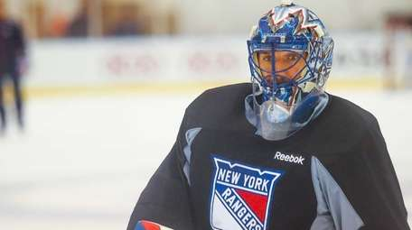 New York Rangers goalie Henrik Lundqvist is seen