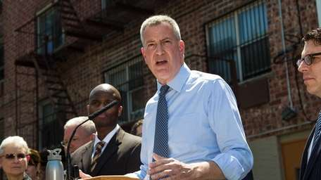 Mayor Bill de Blasio is seen here at