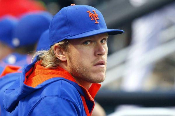 Noah Syndergaard of the New York Mets looks