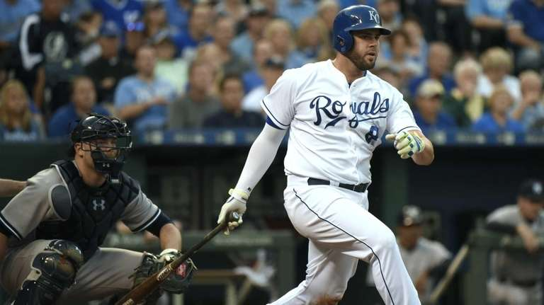 Mike Moustakas of the Kansas City Royals hits