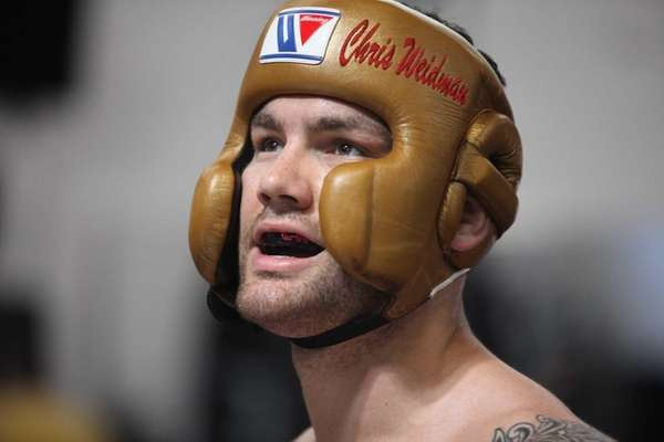 Chris Weidman prepares for a sparring session on