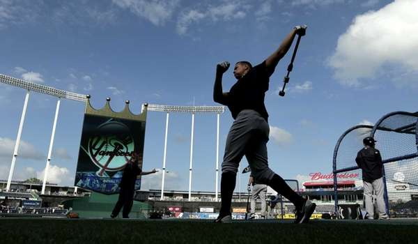 New York Yankees' Alex Rodriguez warms up during