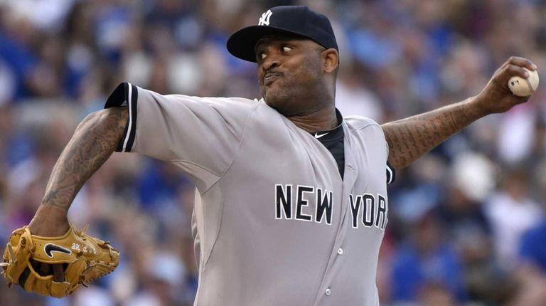 CC Sabathia of the New York Yankees throws