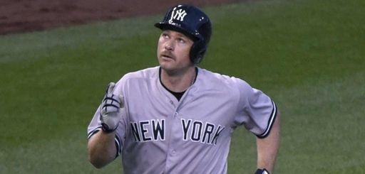 Chase Headley of the New York Yankees celebrates
