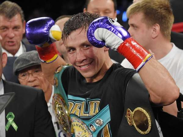 Gennady Golovkin poses after defeating Willie Monroe Jr.