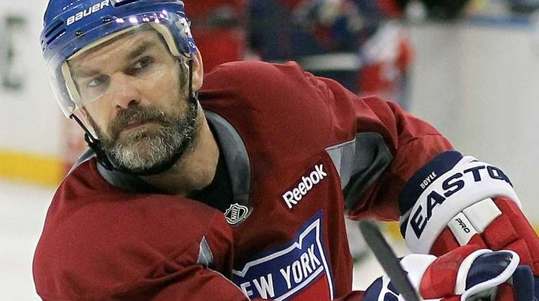 Dan Boyle looks on during Rangers practice on
