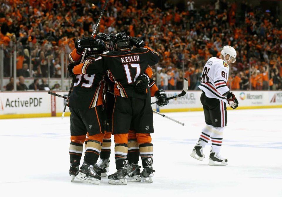Hampus Lindholm #47 of the Anaheim Ducks celebrates