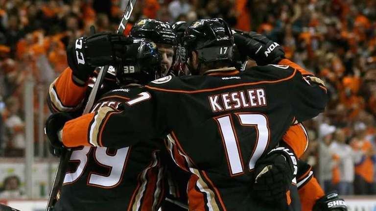 Hampus Lindholm #47 of the Anaheim Ducks celebrates