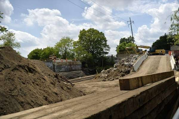 A view of Ellison Avenue bridge work in