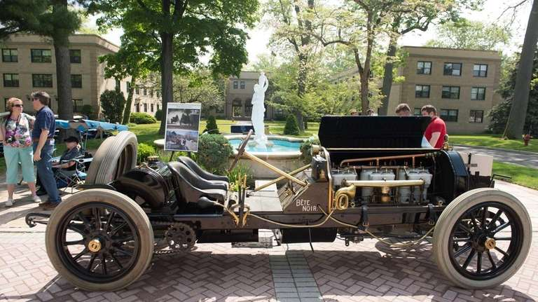 A vintage car is on display during the