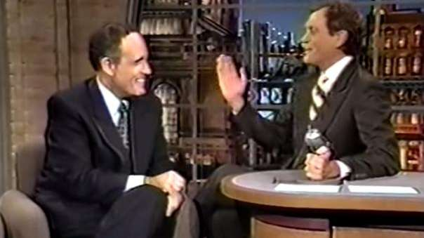 Screenshot of David Letterman and Rudy Guiliani from