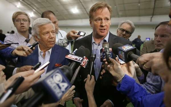 NFL Commissioner Roger Goodell, right, and New England