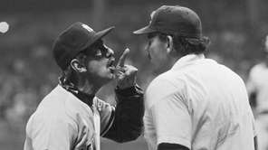 New York Yankees manager Billy Martin, left, has