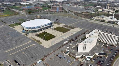An aerial view taken April 18, 2015 shows