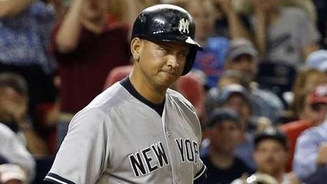 Alex Rodriguez reacts after he struck out during