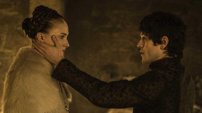 Sophie Turner as Sansa Stark and Iwan Rheon
