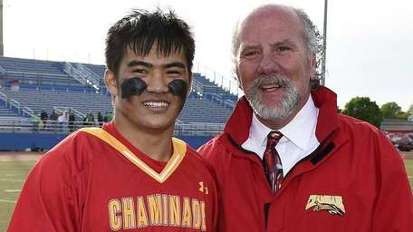 Chaminade attacker Brendon Luu is presented the MVP