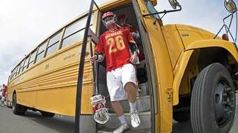 Chaminade attacker Eamonn Scaring leaves the bus and