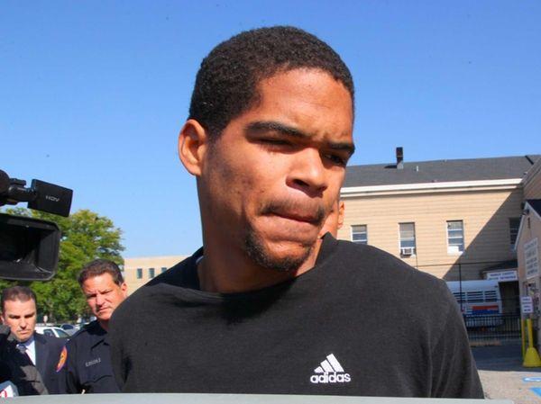 Pedro Merchant leaves Nassau Police headquarters in Mineola