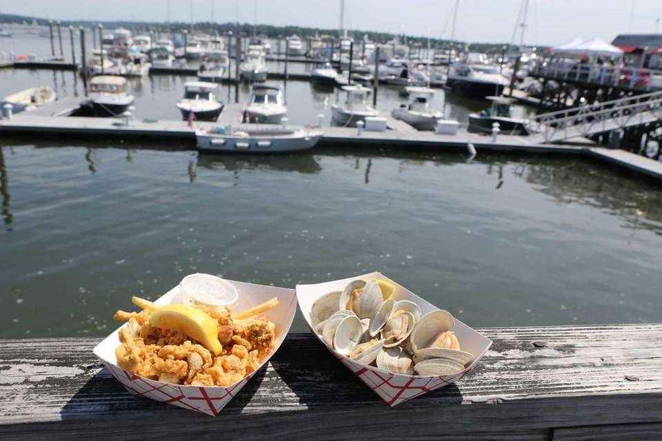 Fried clams and steamed little neck Clams at