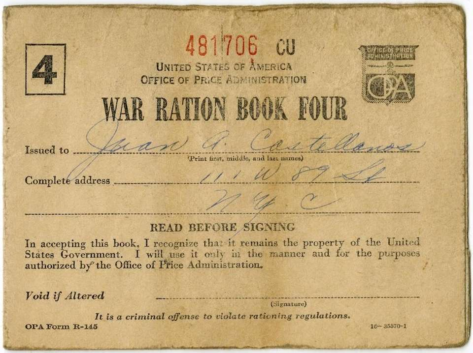 By 1943, rationing became a reality as wartime