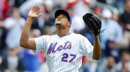 Jeurys Familia of the Mets celebrates after the