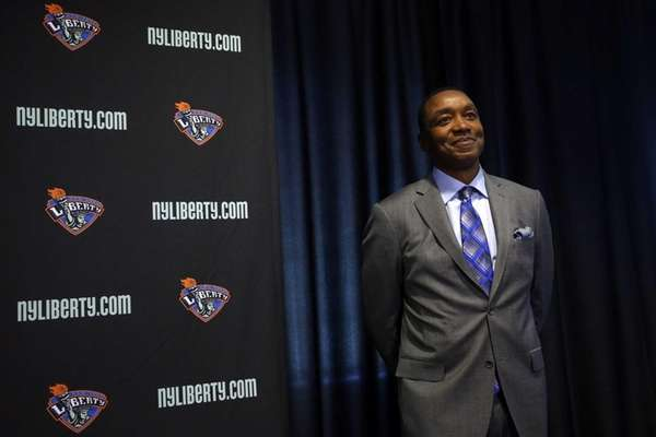 Liberty president Isiah Thomas holds a news conference