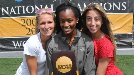 From left, Adelphi women's lacrosse national champions Lauren