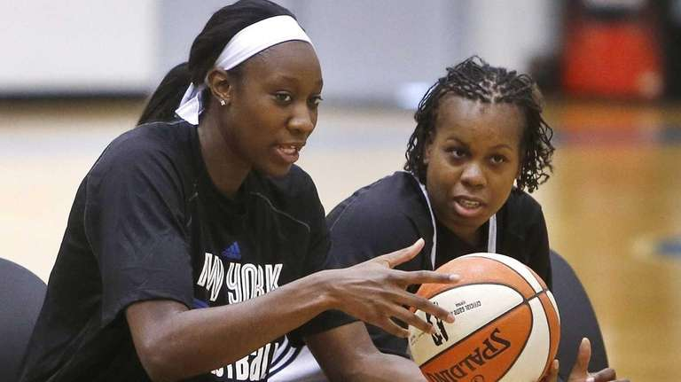 The Liberty's Tina Charles, left, and Epiphanny Prince