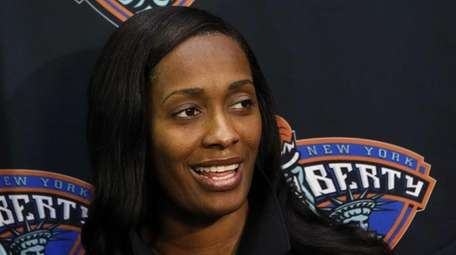 The Liberty's Swin Cash takes questions during Liberty