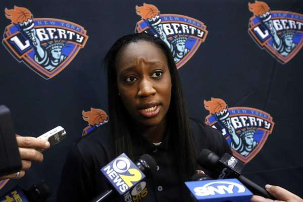 The Liberty's Tina Charles takes questions during Liberty