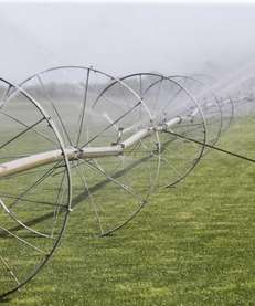 Irrigation wheels water a sod farm in Mattituck